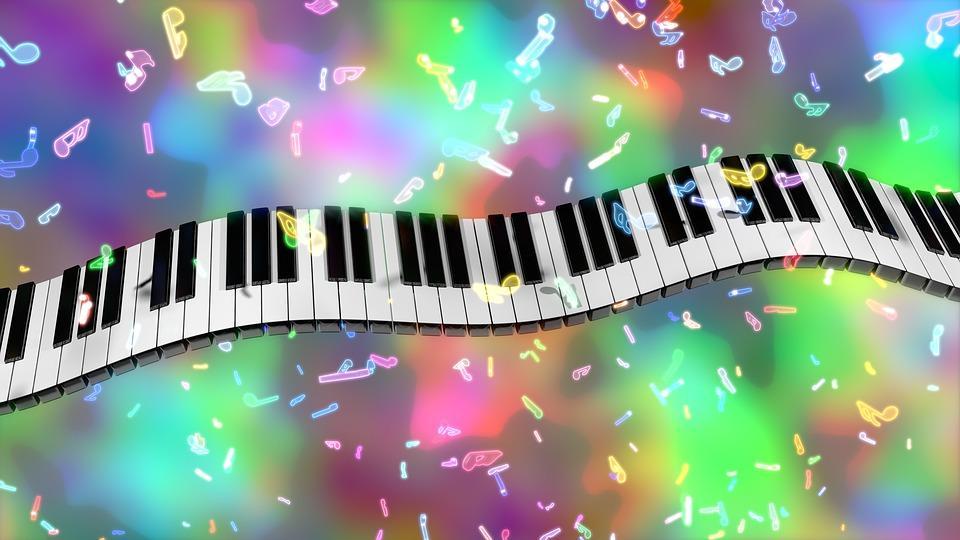 Musiikki, pianon koskettimet